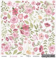 Лист односторонней бумаги для вырезания от Scrapmir -Цветы из коллекции So Loved, 30x30  см
