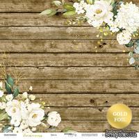 Лист односторонней бумаги с золотым тиснением от Scrapmir - Цветы - Tenderness, 30x30 см