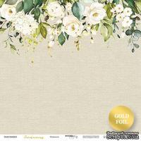 """Лист односторонней бумаги с золотым тиснением от Scrapmir - """"Нежность"""" из коллекции Tenderness, 30x30  см"""