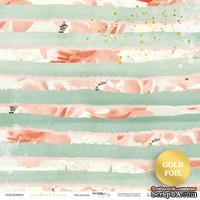Лист односторонней бумаги с золотым тиснением от Scrapmir - Абстракция - Peaches & Cream, 30x30 см