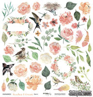 Лист односторонней бумаги для вырезания от Scrapmir - Цветы - Peaches & Cream, 30x30 см