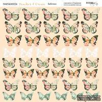 """Лист двусторонней бумаги от Scrapmir - """"Бабочки"""" из коллекции Peaches & Cream, 20х20см"""