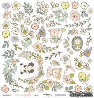 Лист односторонней бумаги для вырезания от Scrapmir - Цветы из коллекции Boy or Girl, 30x30 см