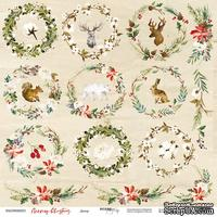 Лист односторонней бумаги от Scrapmir - Декор - Merry Christmas, 30x30см