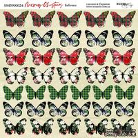 Лист двусторонней бумаги от Scrapmir - Бабочки - Merry Christmas, 20х20см