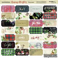 Лист двусторонней бумаги от Scrapmir - Билетики - Merry Christmas, 20х20см - ScrapUA.com