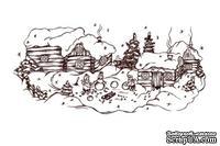 Акриловый штамп Christmas Stamp SR051 Новогоднее село, размер 9,3 * 4,4 см