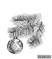 Акриловый штам  SR092 Ветка ели и новогодний шар, размер 4,7х5 см