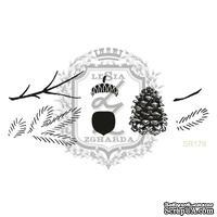 Акриловый штамп Lesia Zgharda SR179 Веточки, шишки, желуди, набор из 7 штампов