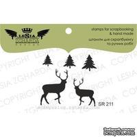 Акриловый штамп Lesia Zgharda SR211 Deer + Christmas trees, 5 шт., размер набора 10х10 см