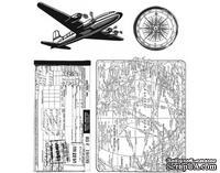 Резиновые штампы от Stampers Anonymous - Tim Holtz - Air Travel, 4 шт