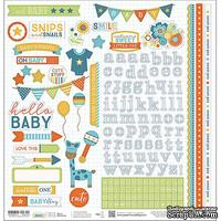 Наклейки от Paper House - Hello Baby Cardstock Stickers - Blue Boy, 30x30 см