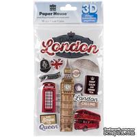 "Объемные наклейки от Paper House 3D Stickers 4.5""X7.5"" - Discover London, 11х19 см, 13 шт."