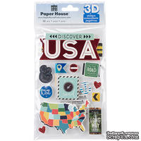Наклейки от Paper House - 3D Stickers - Discover USA, 11,4x17,7 см, 13 шт
