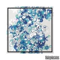Набор для декорирования от Studio Katia -- Пайетки - Winter Wonderland - Sequins Fusion, блестки 4 мм, 6 мм; снежинки 10 мм