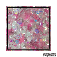 Набор для декорирования от Studio Katia -- Пайетки - Pink Winter - Sequins Fusion, блестки 4 мм, 5 мм, 6 мм; снежинки 10 мм