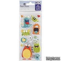 Наклейки от Paper House - Puffy Stickers - Monsters, 7,6x16,5 см
