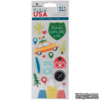 Наклейки от Paper House - Discover USA Puffy Stickers, 7,6x16,5 см, 16 шт