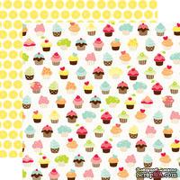 Лист двусторонней бумаги от Echo Park - Picnic Cupcakes Paper, 30x30 см