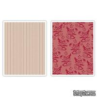 Папки для тиснения Sizzix - Textured Impressions Embossing Folders - Botanicals & Beaded Ribbons Set, 2 шт.