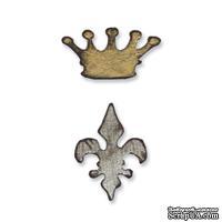 Нож для вырубки на магнитной основе от Sizzix - Movers & Shapers Magnetic Die Set 2PK - Mini Crown & Fleur Set - Корона и Лилия