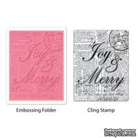 Папка для тиснения и штамп от Sizzix - Textured Impressions Embossing Folder w/Stamp - Joy & Merry Set