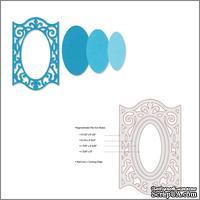 Лезвия от Sizzix - Framelits Die Set - Frame, Oval w/Ironwork Edges, 3 шт