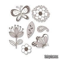 Лезвия и штампы - Sizzix - Framelits Die Set w/Stamps - Flowers & Butterflies, 7 шт.