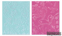 Папки для тиснения Sizzix - Textured Impressions Embossing Folders - Far Out Florals, 2 шт.