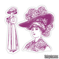 Лезвия и штампы - Sizzix - Framelits Die Set  w/Stamps - Lady w/Hats Set, 2 шт.