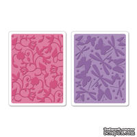 Набор папок для тиснения Sizzix - Textured Impressions Embossing Folders - Swirls, Butterflies & Dragonflies Set, 2 шт.