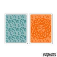 Набор папок для тиснения от Sizzix -  Sizzix Textured Impressions Embossing Folders 2PK - Doily & Roses Set