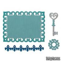 Лезвия Sizzix - Thinlits Die Set 4PK - Border, Label, Medallion & Key, 4 шт.