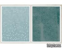 Папки для тиснения от Sizzix - Tim Holtz Alterations - Texture Fades Embossing Folders - Dot-Matrix Gridlock Set
