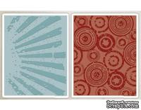 Папки для тиснения от Sizzix - Tim Holtz Alterations - Texture Fades Embossing Folders - Rays Retro Circles Set