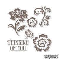 Набор лезвий с штампиками от Sizzix - Framelits Die Set 6PK w/Stamps - Floral, 6 шт.