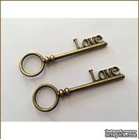 Металлический ключик - LOVE, 8х2,5 см