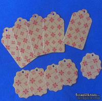 """Набор тэгов из крафт-картона с красным принтом """"Орнамент"""", 300 г/м2, 10 штук, 85х45мм и 55х45мм"""