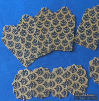 """Набор тэгов из крафт-картона с синими принтом """"Дамаск"""", 300 г/м2, 10 штук, 85х45мм и 55х45мм"""