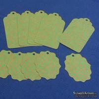 Набор тэгов из крафт-картона с зеленым растительным принтом, 300 г/м2, 10 штук, 85х45мм и 55х45мм