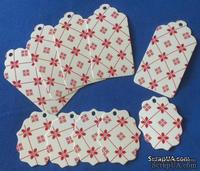 """Набор тэгов из  белого картона с красным принтом  """"Орнамент с ромбами"""", 260 г/м2, 10 штук, 85х45мм и 55х45мм"""
