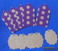 "Набор тэгов из крафт-картона  ""Горохи"", 300 г/м2, 10 штук, 85х45мм и 55х45мм"