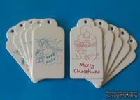 """Набор тэгов из белого картона с принтом  """"Merry Christmas"""" и """"HandMade"""", 260 г/м2, 10 штук, 85х45мм"""