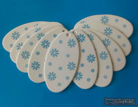 """Набор тэгов из  белого картона с синим принтом  """"Снежинки"""", 260 г/м2, 10 штук, 85х45мм"""