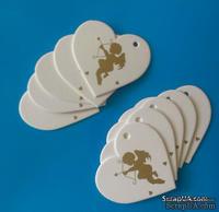 Набор белых тэгов в форме сердечек с ангелочком, 10 шт.: 65х60мм, цвет золотой