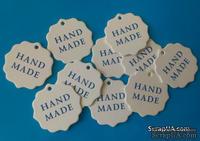 "Набор белых тэгов ""HandMade"", 10 шт.: 55х55мм, цвет надписи на выбор"