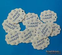 "Набор белых тэгов  из пивного картона ""HandMade"", 10 шт.: 45х55х1,5мммм, цвет надписи на выбор"