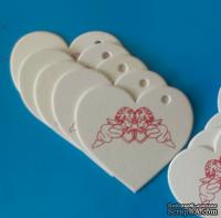 Набор белых тэгов из пивного картона в форме сердечек с ангелочками, 10 шт.: 65х60х1,5мм, цвет красный