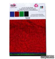 Набор термотрансферных глиттерных листов Tulip® Fashion Glitter® Shimmer Transfer Sheets, 22х28 см, красный, синий, зеленый, черный, 4 листа