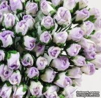 Буточники розы, цвет сиреневый с белым, диаметр - 4мм, 10 шт.